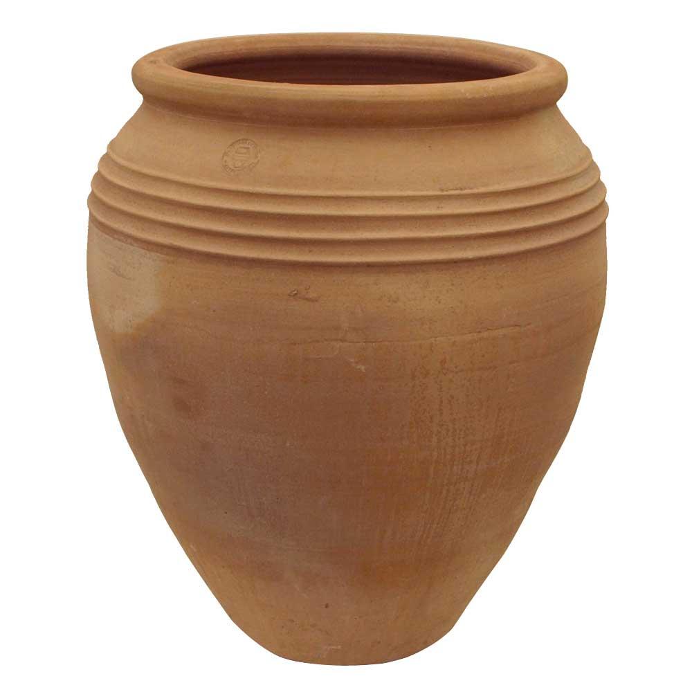 Greek Terracotta Conical Ribbed Jar