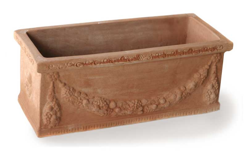 Italian Terracotta Rectangle Planter with Garlands