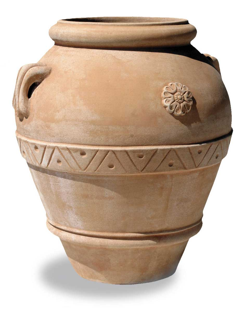 Italian Terracotta Jar with Rosette and Handles
