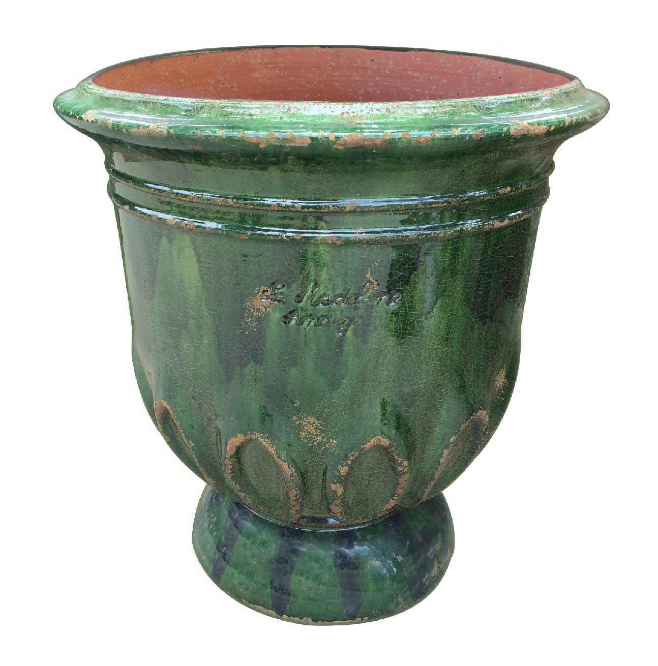 Fench Anduze Tulip Vase in Aged Green